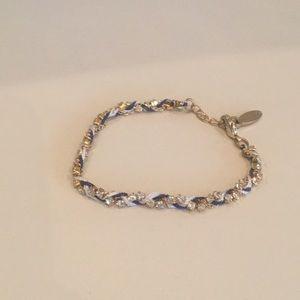 Blue white and gold rhinestone bracelet